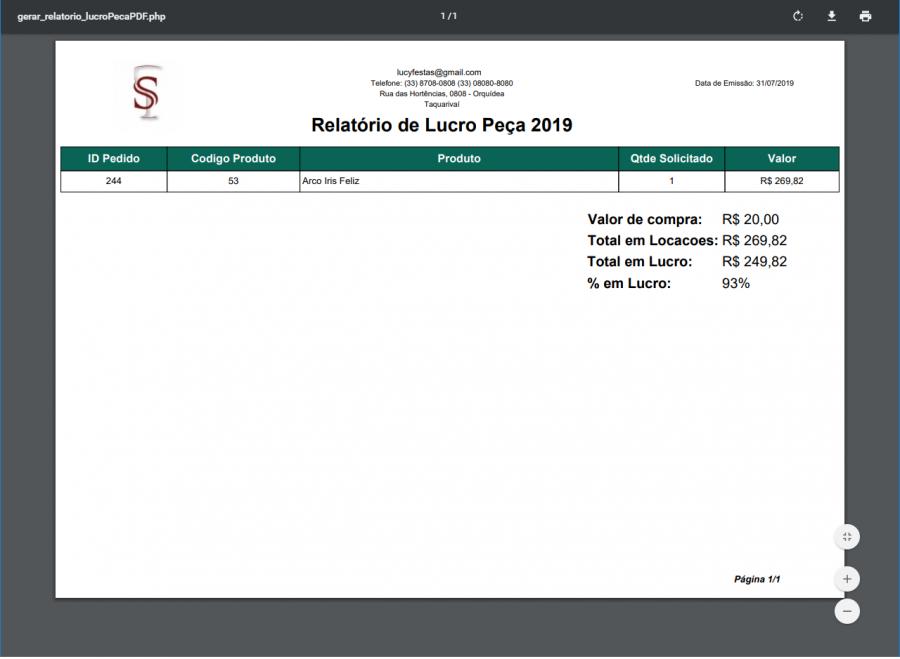 Quantidade alugada de um produto - PDF